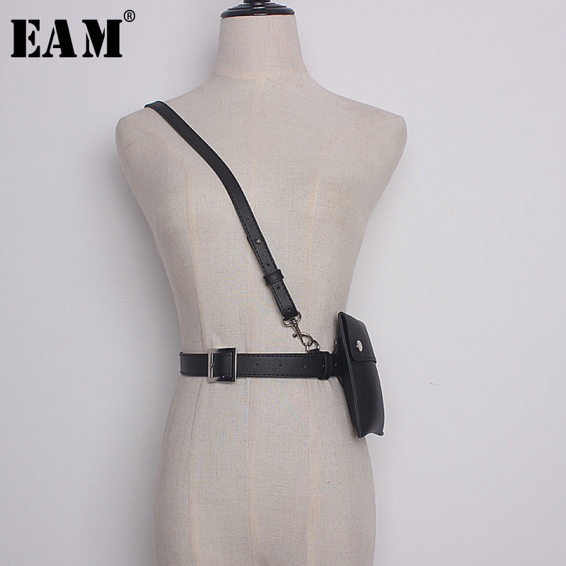 [EAM] 2018 Autumn Summer Unisex Fashion Belt Narrow Adjustable Shoulder Straps Rectangle Rivet Mini-bag Adult PU Belt C08101