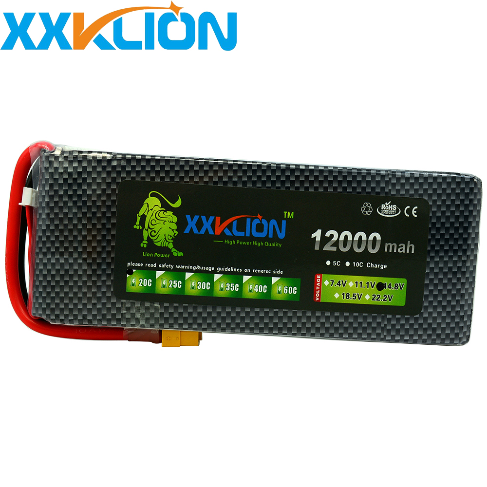 XXKLION drone Lipo battery pack 14.8v 12000mAh 20C 4s Lithium high rate capacity unmanned aerial vehicle