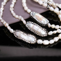 SINZRY 2018 Luxury Natural fresh pearl Jewelry Cubic zircon baroque pearl long sweater necklaces trendy personality jewellery