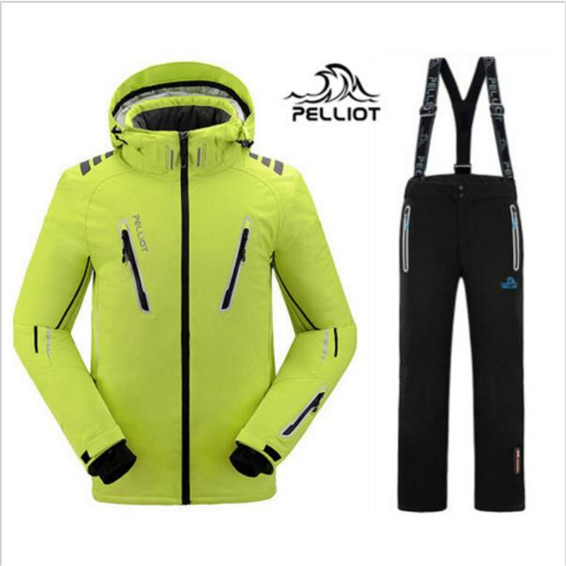 DHL Бесплатная доставка 2018 новый гарантия подлинный Пелльо мужские лыжные костюмы куртка + брюки Мужская водонепроницаемая, дышащий Кемпинг
