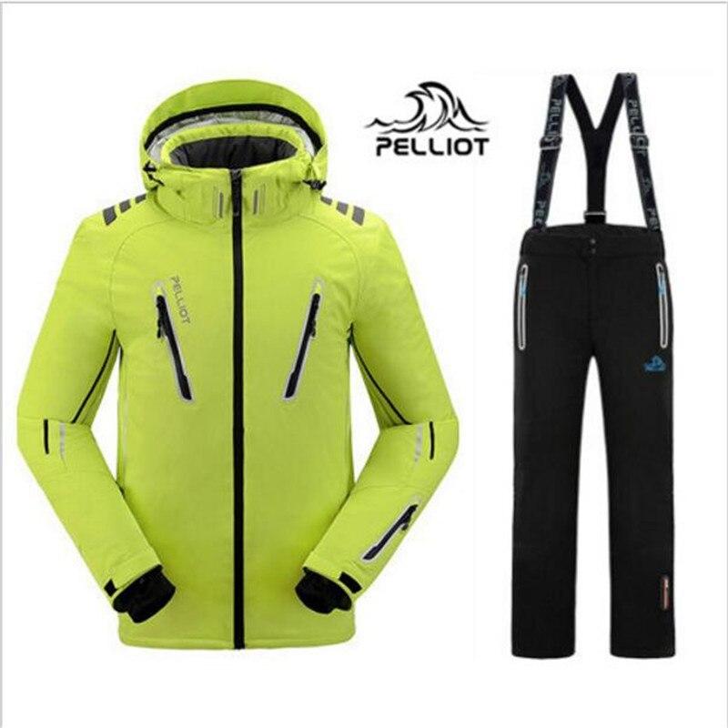 DHL LIVRAISON GRATUITE 2018 Nouveau Garantie La Authentique Pelliot Mâle Ski Costumes Veste + Pantalon Hommes de L'eau-preuve, respirant Camping