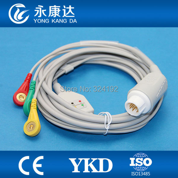Free Shipping for 12pin one piece 3-lead ECG cable with IEC snap ECG LeadwiresFree Shipping for 12pin one piece 3-lead ECG cable with IEC snap ECG Leadwires