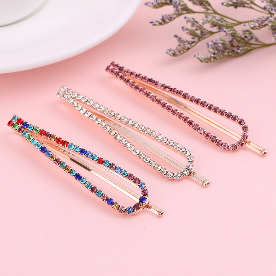 Popular High-end hair accessories headwear U-shaped clipcrystal rhinestone hairpin word clip holiday gift female wild jewelry