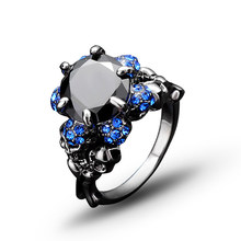 New Skull Ring Black Zircon Womens Wedding Punk gold plating Jewelry J02823