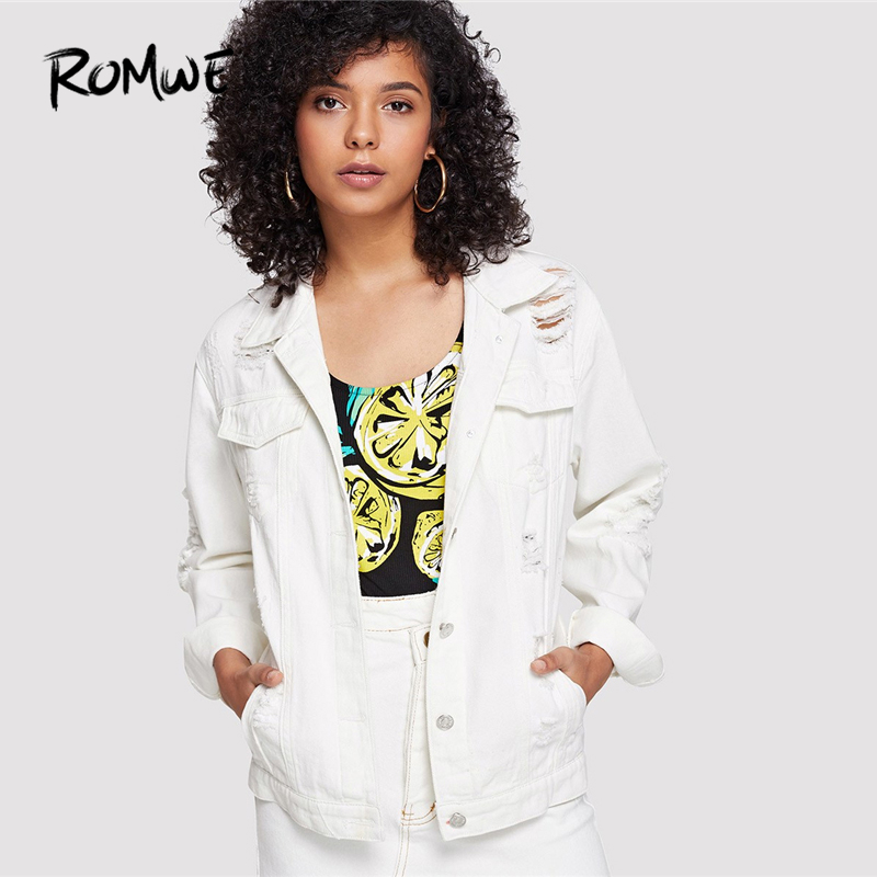 065c65059 ROMWE White Ripped Solid Button Front Denim Jacket Women Autumn ...