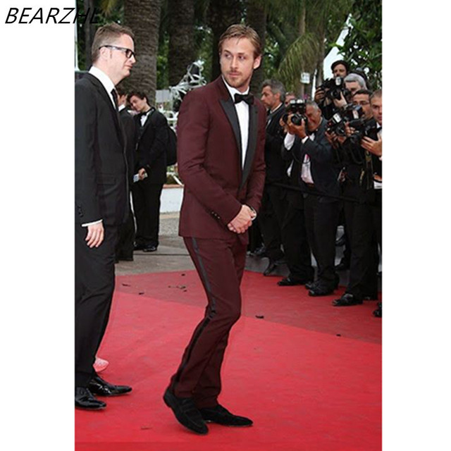 Burgundy Tuxedo Jacket For Wedding Suits Slim Fit Groom Tuxedo