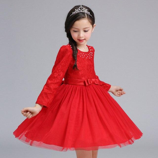 520bab7365 Dziewczynka Koronki Sukienka Dzieci Urodziny Wesele Ubrania dla 3-8 9 Lat  Jesień Długim rękawem