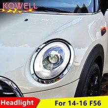 KOWELL 미니 F56 쿠퍼 헤드 라이트 용 자동차 스타일링 F56 LED 헤드 램프 용 천사 눈 led DRL 프론트 라이트 바이 크세논 렌즈 크세논 HID