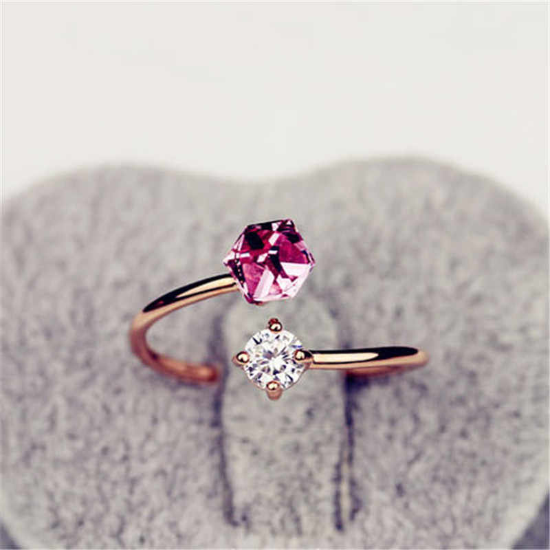 2018 เปิดแหวนหญิง Super Shiny Zircon แหวนแหวนหมั้นสำหรับผู้หญิงง่าย Rose Gold แหวนผู้หญิง