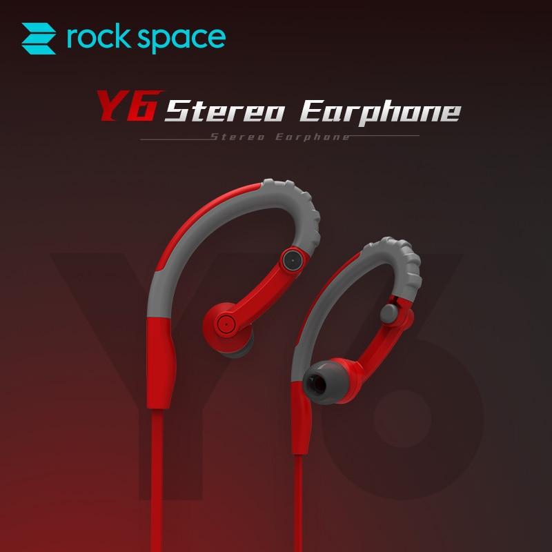 ROCK SPACE Y6 Sports Earphone In-ear Earhook Sport Earphones Sweatproof Headphone Headset Running Cycling for iphone 6 7 Samsung