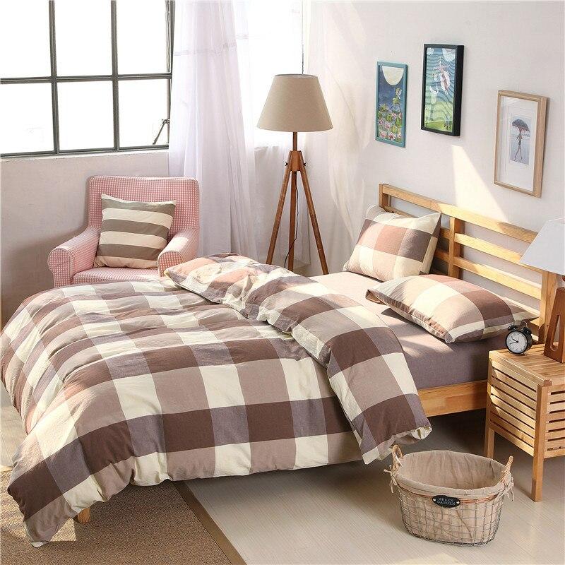 2018 designer bedding set checkered stripes king duvet covers solid color bed sheet washed cotton bed linen drap de lit