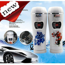 Car electric heating vacuum cup kettle heated travel mug car electric kettle boil water thermos 350ML 24V & 12v garrafa termica