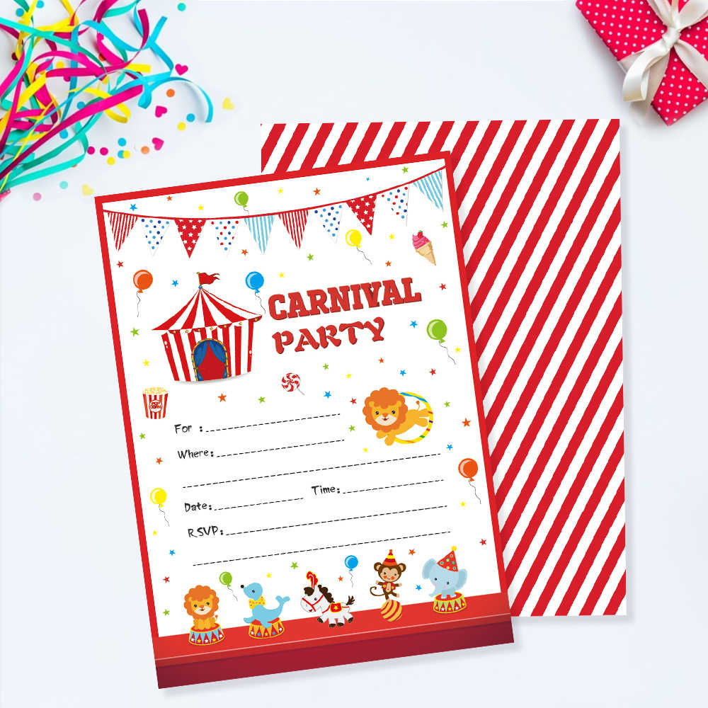 Carnival Theme Kids Birthday Party Favors Carnival Circus Party Invitations Cards Cartoon Animals Invitation Party Decorations