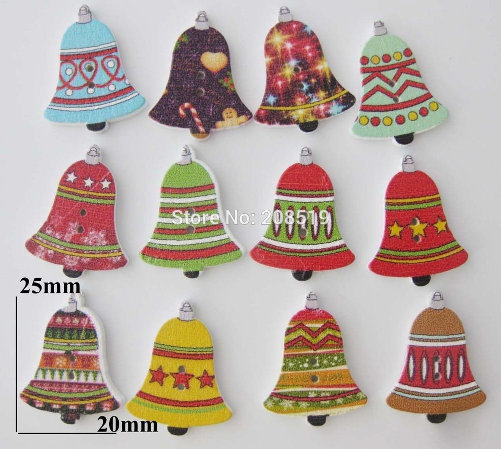 ᗖWbnwna feliz Navidad campana Botones madera 25mm * 20mm impresión ...