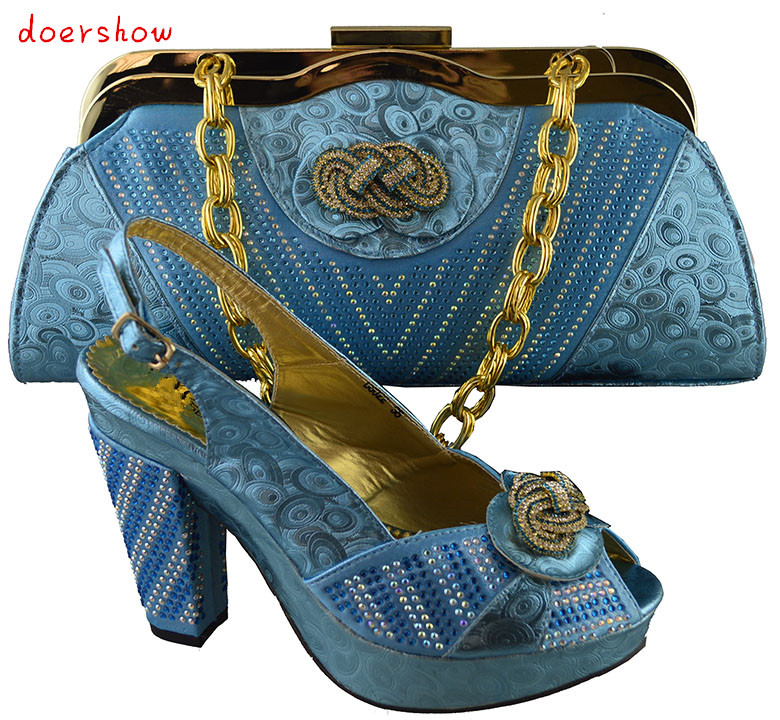 doershow sky blue Most Popular African Shoes And Matching Bags Set With Colorful Stone Nigerian Shoes And Bags Set HJZ1-25 оригинальный подарок blue sky rim f9