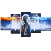 New Frameless Hand Painted 5pcs Modern Girl With Wings Canvas Oil Paintings Wall Pictures For Living