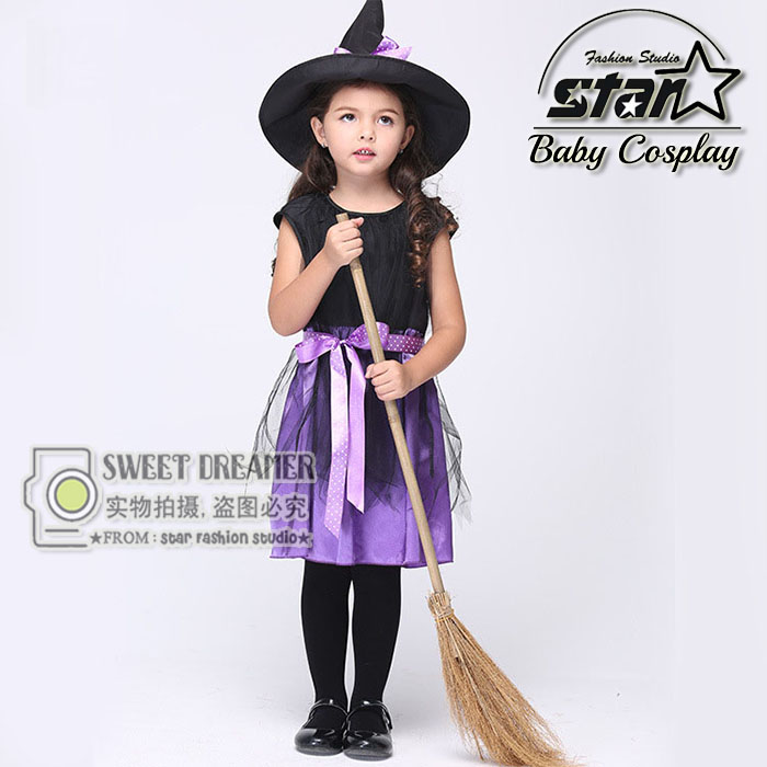 Girls Witch Costume Fancy Children Halloween Costume Kids Cosplay Fancy Gauze Dresses Carnival Masquerade Kids Clothes european style halloween show skeleton dress kids girls carnival fancy costume baby tutu party children cosplay vestido cloth