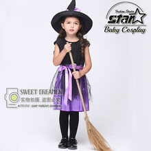 Girls Witch Costume Fancy Children Halloween Costume Kids Cosplay Fancy Gauze Dresses Carnival Masquerade Kids Clothes