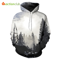 ACTIONCLUB 2017 Spring New Fashion Mens Hoodies And Sweatshirts 3D Print Trees Forest Simple Coat HipHop