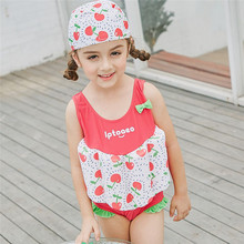 SABOLAY Girls Swimsuit One-Piece Vest Floating Cute Bowknot Childrens Buoyant Swimwear Swimming Suit with Strawberry Pattern