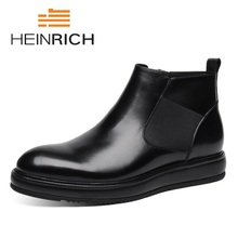 HEINRICH Hot Sale Black Slip On Men Chelsea Boots Leather Low Heel Ankle Formal High Top Shoes Botas De Invierno