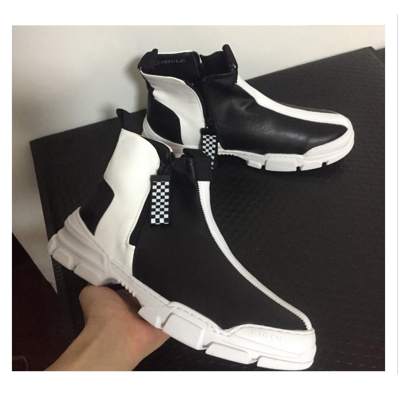 2019 Элитный бренд Для мужчин модные высокие кроссовки черный, белый цвет клетчатый полусапожки Повседневное высокая обувь Для мужчин для от... - 6