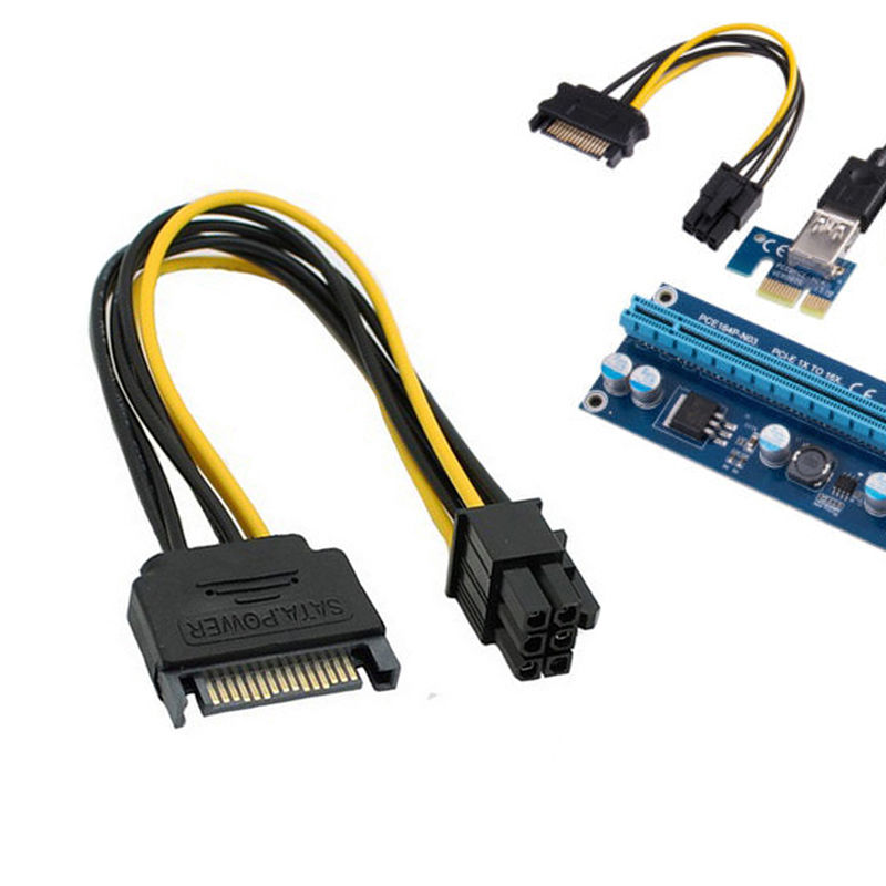 Dual <font><b>SATA</b></font> <font><b>15</b></font> Pin Male to PCI-E 6 Pin Female Video Card Power Adapter <font><b>Cable</b></font> CA L Pet Room image