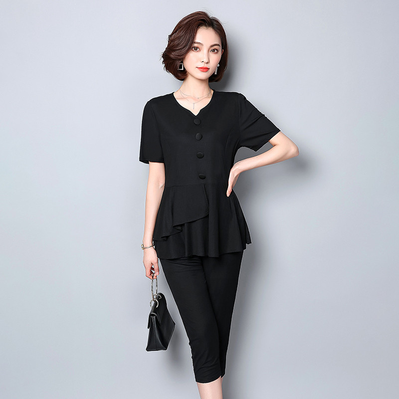 Summer Black Two Piece Sets Women Plus Size Short Sleeve Tops And Cropped Pants Sets Suits Casual Office Elegant Women's Sets 27
