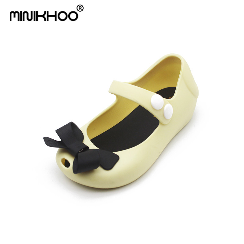 Mini Melissa 2018 New Jelly Shoes Sandals Princess Shoes Butterfly Knot Soft Bottom Fish Head Girls Sandals Baby Shoes 7 Color