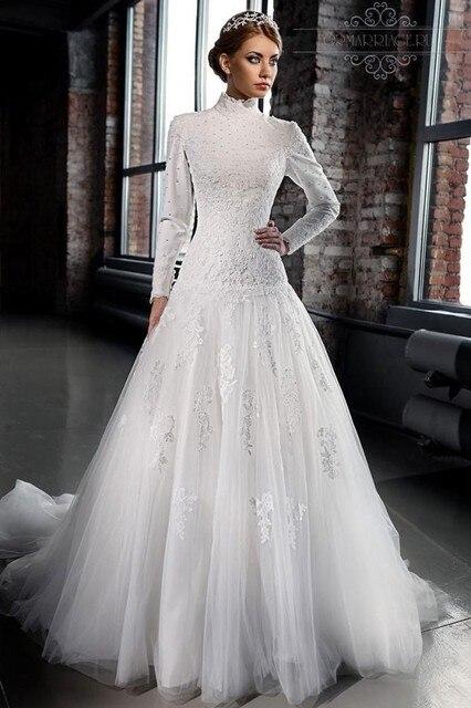 MZYW0212 full long sleeve high neck lace wedding dresses custom made ...