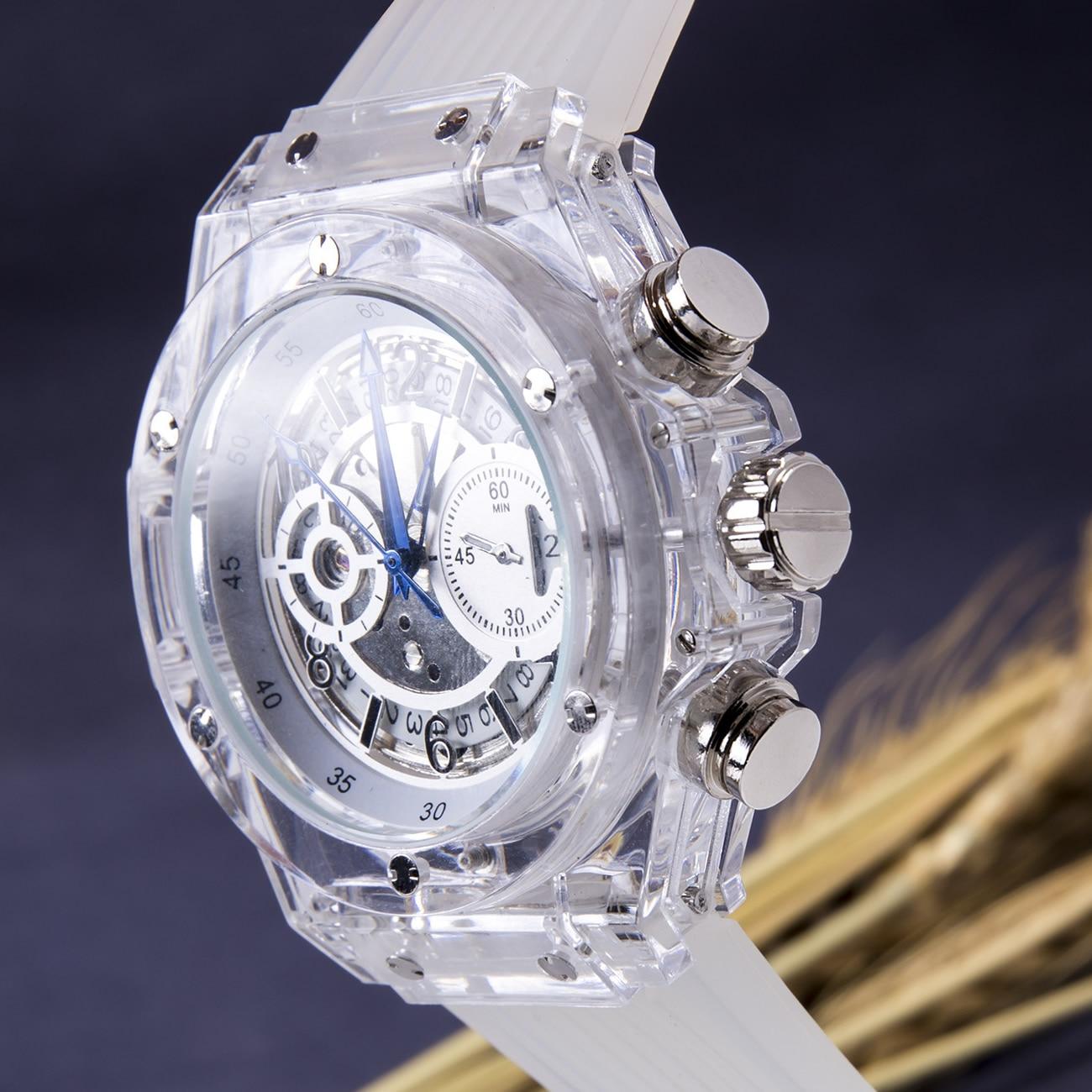 T-goer Brand Men Wristwatches Automatic Mechanical Luxury Man Watches Transparent Waterproof Mens Watch White