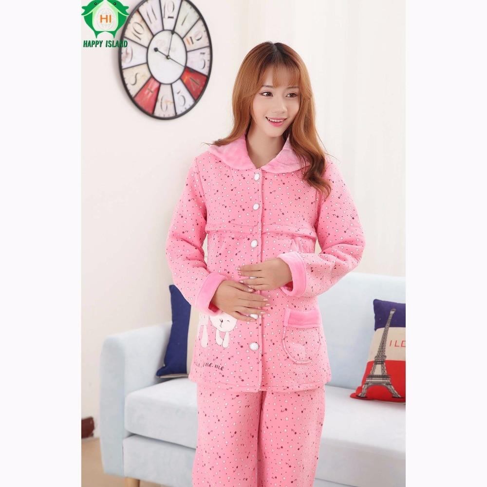 New Arrival Pregnancy Winter Maternity Clothes Kawaii Nightwear for Breastfeeding Pajama Women Camiso Maternidade Sleepwear