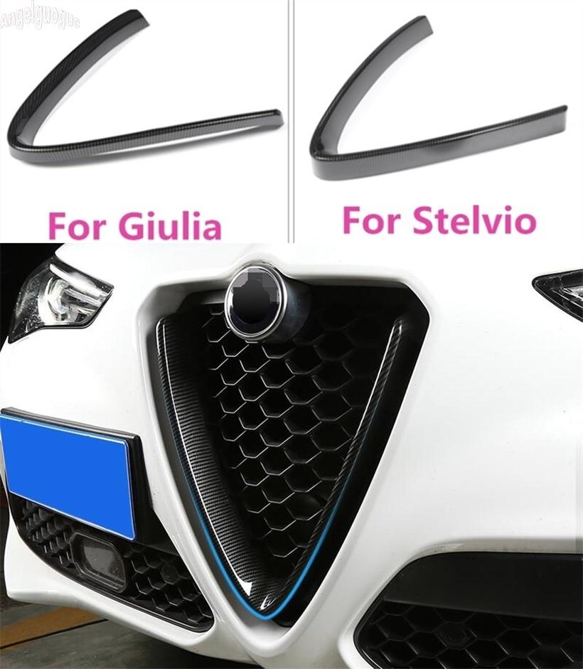 17-19 ABS Carbon Fiber Front Grille Decoration Frame For Alfa Romeo Stelvio