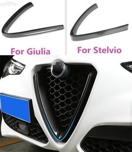 Carbon Fiber Style For Alfa Romeo Stelvio Giulia Accessories Car Head Grilles V Frame Decoration Trim Sticker Logo Cover Styling