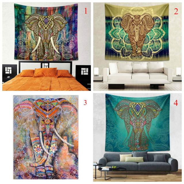 Indian Elephant Colorful Printed Mandala Decoration Aubusson Tapestry Religious Wall Decor Boho Bohemia Beach Blanket  Best Pric