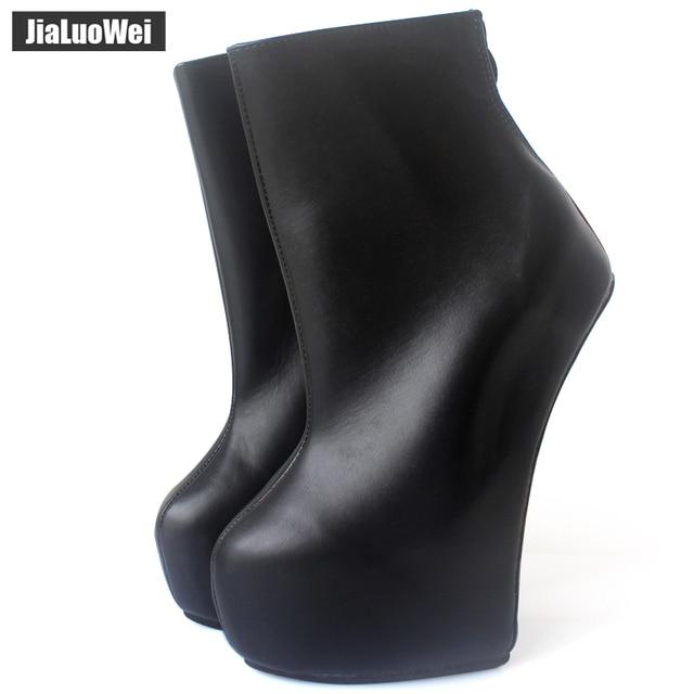Jialuowei 20cm גבוהה העקב 5cm פלטפורמה סקסי פטיש ללא עקבי מוזר סגנון בלעדי ponying העקב חזרה zip אופנה קרסול מגפי בלט