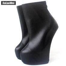 Jialuowei 20cm Hohe Ferse 5cm Plattform Sexy Fetisch Heelless seltsame stil Sohle ponying Ferse Zurück zip Fashion Ankle ballett Stiefel