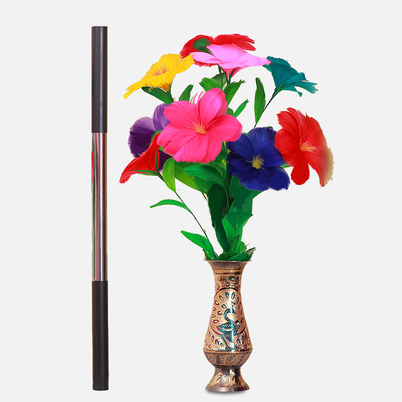 magic stick to flower (with pot) cane to feather flower magic tricks magic props alluminum alloy magic folding table bronze color magic tricks illusions stage mentalism necessity for magician accessories