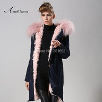 送料無料工場直接1ピース冬の女性暖かいウール毛皮襟フード付きロングコートジャケットパーカーキルティングフグ青mrパーカー