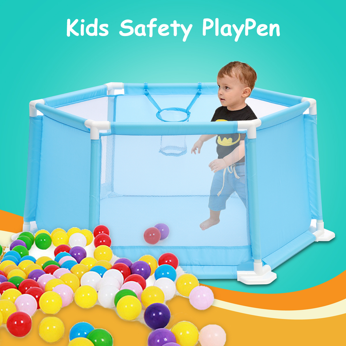 Baby Playpen Kids 6 Panel Safety Protection Play Center Yard Fence+50Pcs Balls 110x49x51cm Integrated Rubberised Feet Convenient ship from germany 8 panel pet dog cat exercise pen playpen fence yard kennel portable 24 30 36