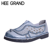 HEE GRAND Woman Loafers Spring Top Soft PU Leather Flats Anti Slippy Shoes Ethnic Style Women