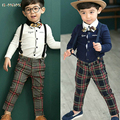 Gentleman Baby Set child boy wedding suit boys wedding clothes+suspenders Grid Plaid Pant+Bow Baby Outerwear Infant Clothing Set