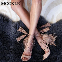 MCCKLE Women Summer Tassel Gladiator Sandals Female Shoes Cross Strap Sexy High Heels Lace Up Cover