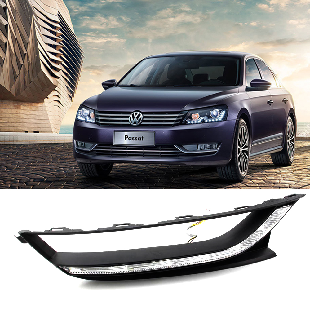 Car DRL kit for Volkswagen Passat 2011~2013 LED Daytime Running Light bar Super bright fog auto lamp daylight car VW led drl 12v daytime running light for vw volkswagen passat b6 2007 2008 2009 2010 2011 led drl fog lamp cover driving light