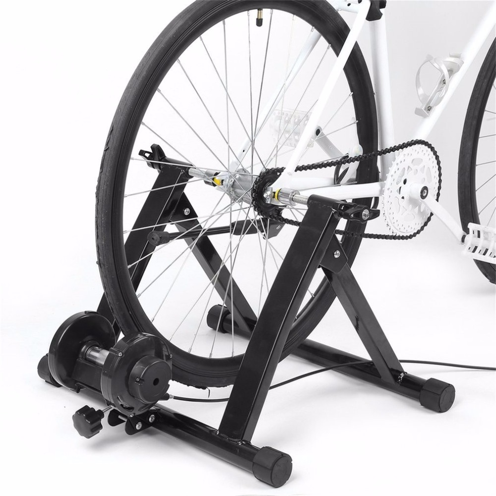 Adjustable Handlebar Indoor Bicycle Trainer Stand Cycling Stationary Training Magnetic Controler Rustproof With Remote Lever Hot cycling trainer home training indoor exercise 6 speed magnetic resistances bike trainer fitness station bicycle trainer rollers