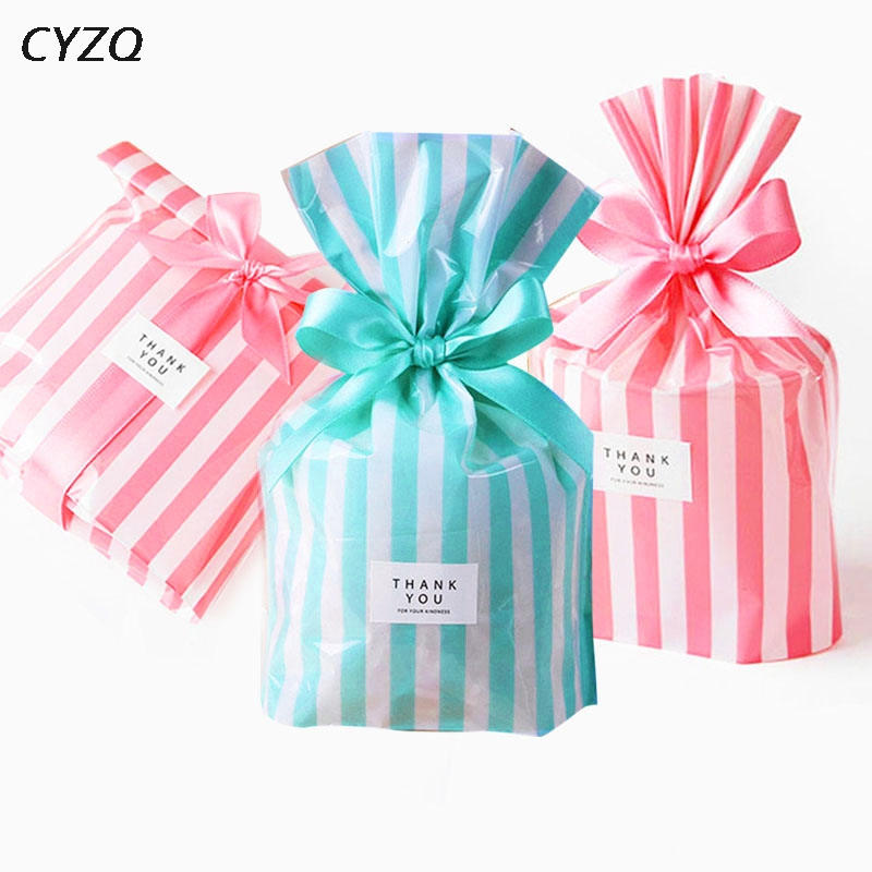 Wedding Favors Cute Bow Tie Stripe Cookie Candy Gift Bags For Candy Biscuits Snack Baking Package Event Party Supplies