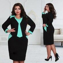 Sexy Slim Large Size Women Dresses O-Neck Long Sleeve Knee Length Patchwork Dress 2016 Fashion Elegant Women Clothes