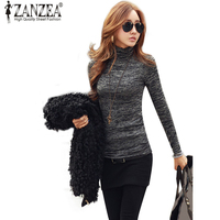 ZANZEA New Women Autumn Sweater Fashion High Neck Long Sleeve Slim Fit Bodycon Knitted Pullovers Casual