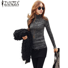 ZANZEA Women Knitted Pullover Sweaters 2017 Fashion Casual High Neck Long Sleeve Slim Fit Jumper Tops