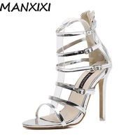 MANXIXI Summer Strappy Buckle Ankle Strap Gladiator Roman Sandals Women Wedding Bridal Shoes Champange Gold High